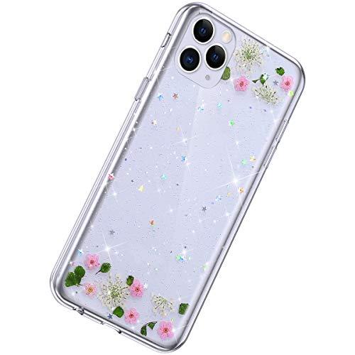 Herbests Kompatibel mit iPhone 11 Pro Hülle Getrocknete Blumen Glänzend Bling Glitzer Durchsichtig TPU Silikon Hülle Transparent Schutzhülle Weich Crystal Clear Handytasche,Rosa