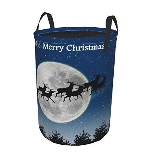 MEJX Collapsible Large Clothes Hamper for Household,Santa Claus Reindeer Sleigh,Storage Bin Laundry Basket Waterproof with Drawstring,16.5' x 21.6'
