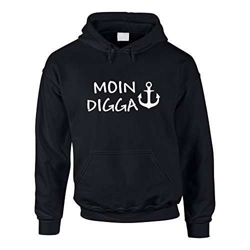 Hoodie Moin Digga Kapuzenpullover Hamburg St. Pauli Anker, schwarz-Weiss, XXL