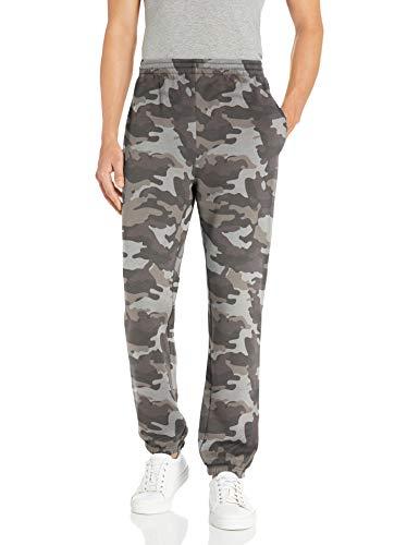 Amazon Essentials Closed Bottom Fleece Pant Pantaloni, Grey Camo, L