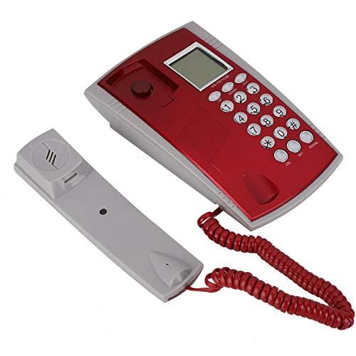 Teléfono con Cable, Mini teléfono Fijo Colgante de Escritorio con Manos Libres, Teléfono de extensión pequeño de Comercio Exterior en inglés, para Oficina en casa del Hotel(Rojo)