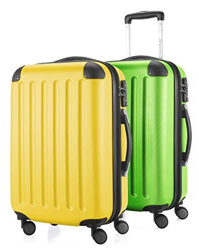 HAUPTSTADTKOFFER - Spree - 2er Koffer-Set Handgepäck Hartschale, TSA, 55 cm mit Volumenerweiterung, Gelb-Apfelgrün