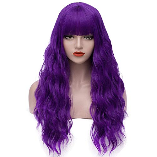 Purple Wigs for Women Mardi Gras 26'' Long Curly Wavy Hair Wigs with Bangs Heat Resistant Synthetic Wigs for Cosplay Costume Halloween AD002PR