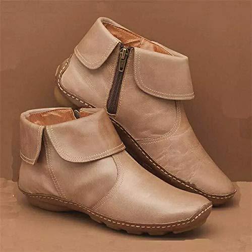 MTHDD Lässige Flache Knöchel-Stiefeletten für Damen, Bequeme Wanderschuhe mit niedrigem Absatz, mit Fußgewölbeunterstützung,Beige,42
