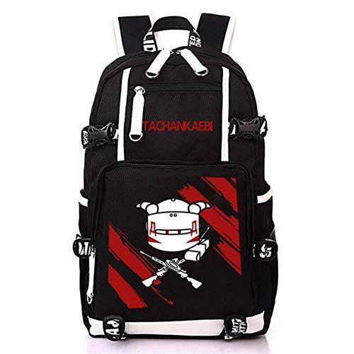 Twhoixi Rainbow Six Siege Leinwand Rucksack Teenager Student Schultasche Rucksack Anime Büchertasche Laptoptasche für Männer Teenager