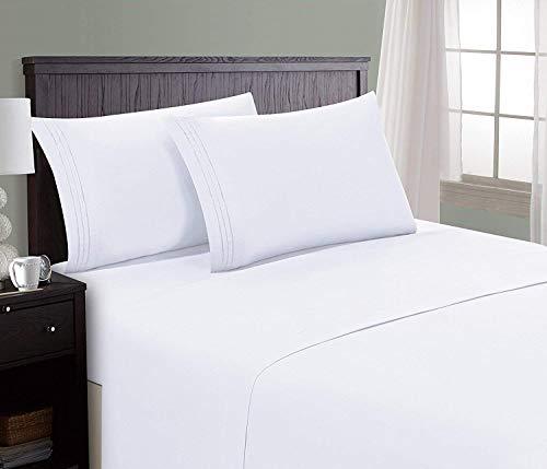Danjor Linens 1800 Series Microfiber Sheet & Pillow Case Set(Queen, White)