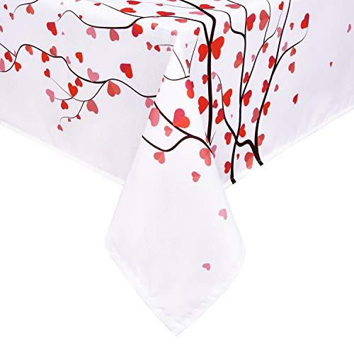 Alishomtll Outdoor Tischdecke Herz Tischtuch für Hochzeit, Digitaldruck Deko Garten Tischdecke, Polyester 130 x 220 cm, Abwaschbar Wasserdicht, Rot