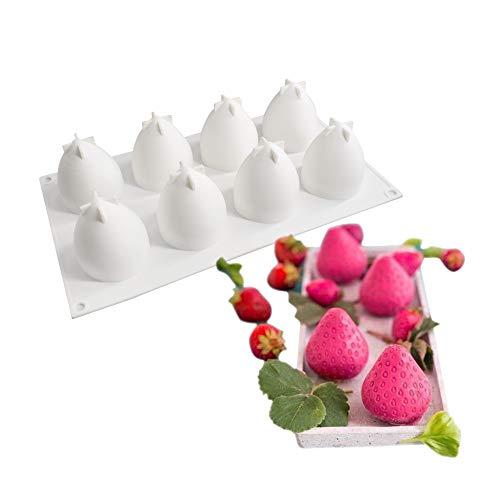 molde de silicona pastel 3d, Moldes de silicona para postres pudín, 8 cavidades Forma de fresa, Blanco