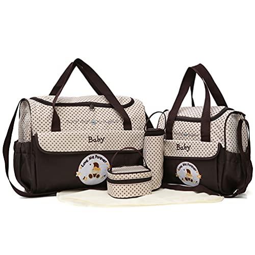 Baymate Set 5 Kits Bolsa de Mano para Bebe Cambiador de Pañales Bolso Bolsa para Maternidad de Hospital de Mensajero - Café, 41x14x30.5cm