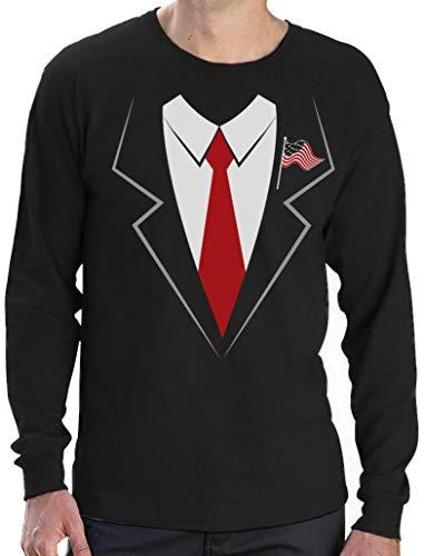 Lustige Kostümidee Donald Trump Anzug mit Anstecker Langarm T-Shirt Medium Schwarz