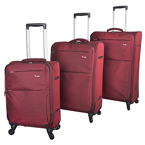 Set of 3 JAM Voyager Marled Red 19' 24' 28' Light Trolley Cases Suitcases Bags