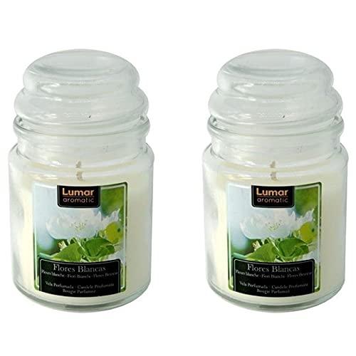 Valmoni Sport 2 Velas Tarro Olor Flores Blancas Jarrita de Cristal y Tapa Jarra Jazmín Aroma Aromaterapia Natural