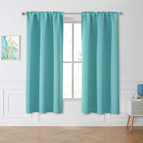 Window Aqua Sea Curtains Blackout Drapes 63 Inch - Privacy Protect Thermal Insulated Rod Pocket Light Blocking Curtains Draperies for Living Room Bedroom (2 Panels, 42W x 63L)