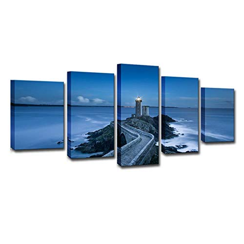 Seaside Lighthouse, Set van 5 Schilderijen, HD Printing, Muurschilderingen, Moderne schilderijen, Home Decoration Painting, Canvas Printing 12X16/24/32Inch Zonder frame