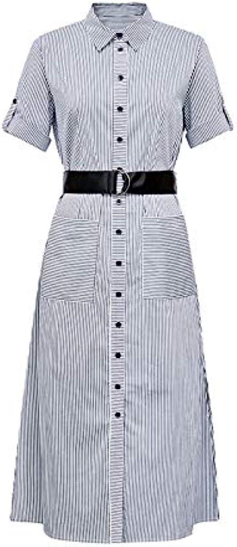 Woman Dress Summer Striped Double Pocket Dress Women's Midi Dress