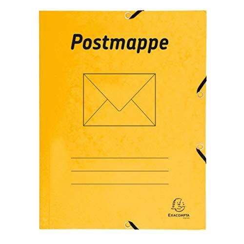 Exacompta 55549B Postmappe aus Manilakarton 425g/qm, robust und praktisch, mit 3 Klappen, für DIN A4, 1 Stück, Gelb