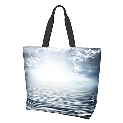 Wave Water Night Horizon Light - Bolsa de lona impermeable grande, bolsa de hombro informal, duradera, para gimnasio, playa, viajes, compras diarias, 15,7 x 19,7 x 15 cm