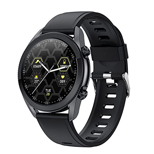 Haowen I12 1.3 Pulgadas Reloj Inteligente con Pantalla táctil Frecuencia cardíaca a Prueba de Agua con Llamada telefónica Correa de Silicona Negra 1.3 Pulgadas
