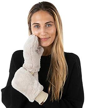 Mittens Women s Faux Fur Warm Fuzzy Soft Fingerless Gloves - Beige