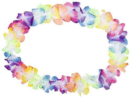 Alsino Set di 2 Collane Hawaiane HK-02 | Fiori Colorati | Tessuto | Diametro Circa 30 cm | per Feste a Tema | Hawaii | Addio al Nubilato e Celibato | Decorazione
