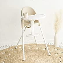 FUNNY SUPPLY 3-in-1 Cute Folding High Chair, Perfect Modern Space Saving Highchair with Detachable Double Tray, 3-Point Harness, Cream Color