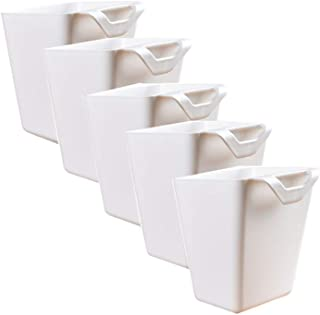 Office,Kitchen Wall Organizer,Plant Containers,Space Saver,Storage Bucket Desktop Cleaning Trash Can,Artificial Planters/Plant Pot or Make Up Pencil Holder Home Decor White (5)