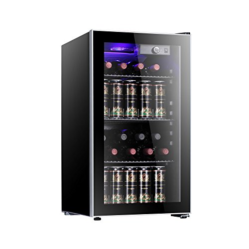 Antarctic Star 26 Bottle Wine Cooler/Cabinet Beverage Refrigerator Small Mini Red & White Wine Cellar Beer Soda Clear Front Glass Door Counter Top Bar Fridge Quiet Operation Compressor Adjust Temperature Freestanding Black