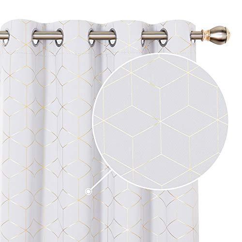 Deconovo Cortinas Opacas Diseño Rombo Dorado para habitación con Ojales 2 Piezas 117x229cm Gris Blanco