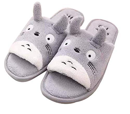 GLEYDY Kuschelige Totoro Plüsch Hausschuhe Pantoffeln Damen Herren Warm Plüsch Winter Bequeme Hausschuhe rutschfeste Hause Indoor Slippers,003,40/43EU