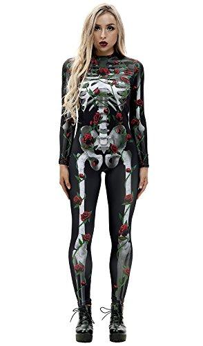URVIP Skelett Overall Damen Knochen Skeleton Halloween Kostüm Bodysuit Anzug Karneval Fasching BAX-013 XL