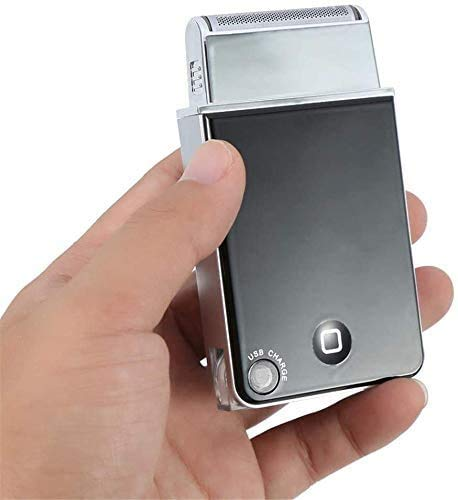 AMYD Rasoir Électrique Barbe Rasoir Mini Noir Manuel USB Rechargeable Alternatif Portable Moustache Rasage Électrique Rasoir