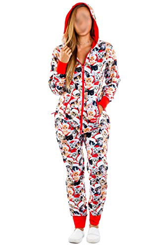 Womens One Piece Ugly Christmas Pajamas, Novelty Hooded Onesies Jumpsuit Rompers Sleepwear Clubwear (Cat, M)