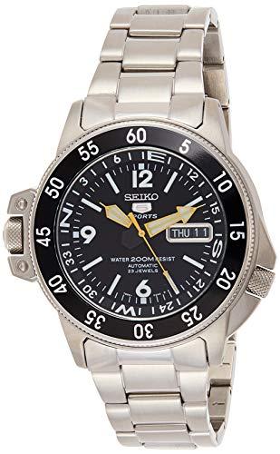 Seiko SKZ211K1 5 Diver\'s - Reloj para Hombre, automático, analógico, Esfera Negra, Correa de Acero Gris