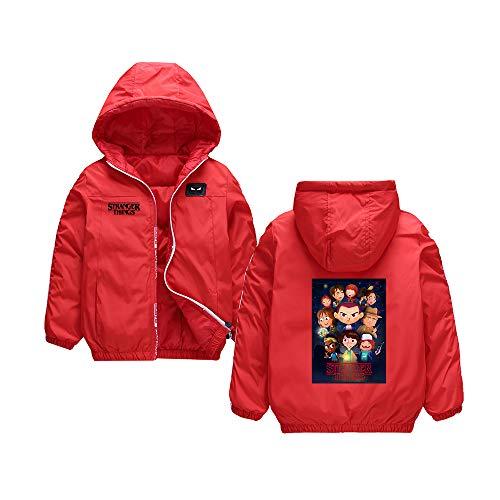 Njhfgkjrlf Stranger Things Pullover Kinder einfache Dicke Jacke warme einfarbig Kinder Mantel wattierte Jacke Junge und Mädchen (Color : Red06, Size : 140)