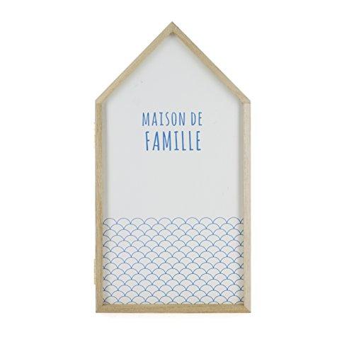 THE HOME DECO FACTORY HD3108/2WEB Boîte à Clés Maison, Bois Paulownia, Blanc, 14,8 x 8 x 27,4 cm