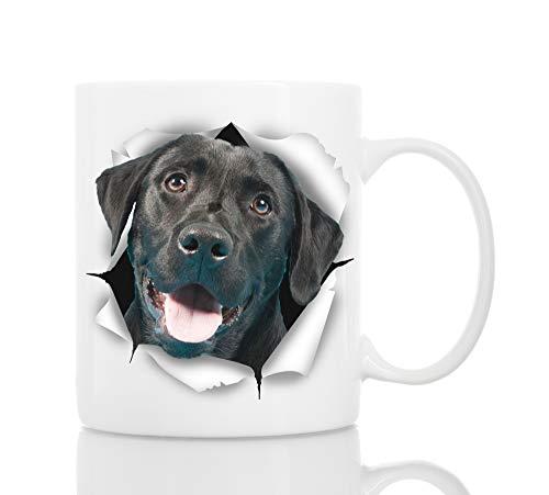 Cute Black Labrador Dog Mug - Ceramic Funny Coffee Mug - Perfect Dog Lover Gift - Cute Novelty Coffee Mug Present - Great Birthday or Christmas Surprise for Friend or Coworker, Men and Women (11oz)