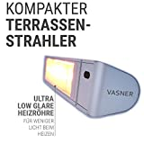 VASNER Teras X20 Infrarotstrahler | Rund-Design | 2000 W Infrarot-Heizstrahler | 6 Stufen | Terrassenstrahler Elektrisch | Fernbedienung | IP65 Wasser-Schutz | Bad | modern | Silber