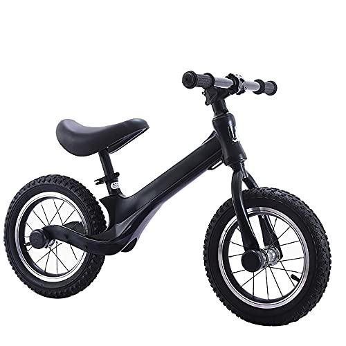 Bicicleta de Equilibrio de 12 Pulgadas para NiñOs de 2 a 6 añOs. Bicicleta sin Pedales Entrenamiento/Black / 12inch