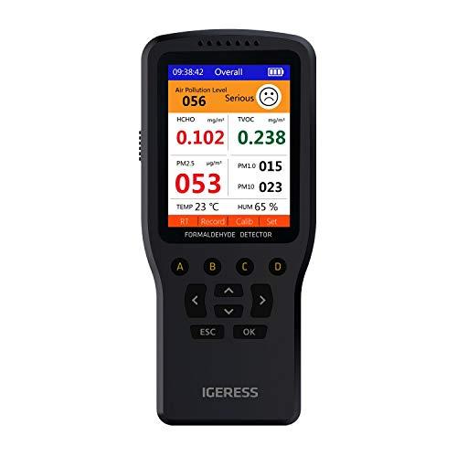 Monitor di qualità dell aria IGERESS misuratore di inquinamento dell aria interna per formaldeide VOC PM2.5 PM1.0 PM10  temperatura e umidità, kit tester aria in tempo reale con schermo LCD colorato