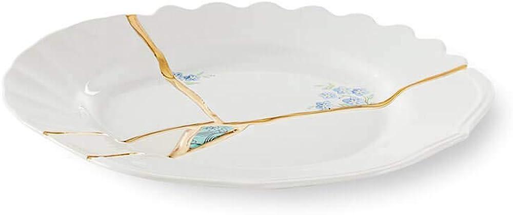 Seletti kintsugi, piatto frutta in porcellana e oro 24 carati, mod. 3 124144