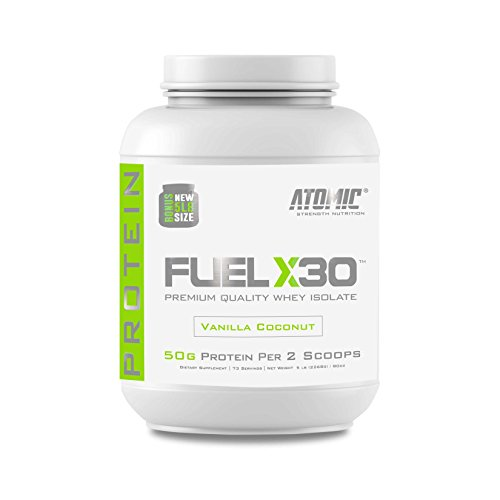 Atomic Strength Nutrition Fuel X30 Whey Isolate – Vanilla Coconut – Premium Quality Muscle Mass Gainer – Sugar Free, Fat Free, Gluten Free, Lactose Free – 5 lbs