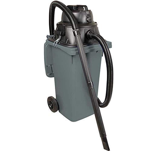 BRB Nat-/droogzuiger/industriële stofzuiger 1100 watt, met 120 liter container (DIN vuilnisbak) grijs, incl. extra Stekkeraansluiting.