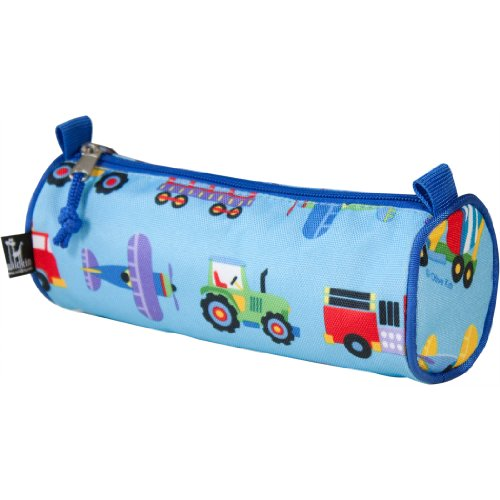 Wildkin Kids Zippered Pencil Case for Boys and Girls, Perfect for Packing School Supplies and Travel,600-Denier Polyester Pencil Cases Measures 8x3x3 Inches,BPA-free,Olive Kids(Trains Planes & Trucks)