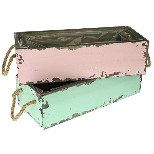 MACOSA DJ37591 2er Set Pflanzkiste türkis & rosa Shabby Chic Deko-Holzkiste 28 x 12 cm vintage Holz Pflanzbox Tischdeko Wohnaccessoire Dekokiste