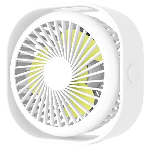 LKK-KK Pequeño portátil Ventilador del Escritorio, Ventilador de Tabla con Las especificaciones USB Recargable, 3 velocidades silenciosas Ventilador Personal for Ministerio Y Viajes-White
