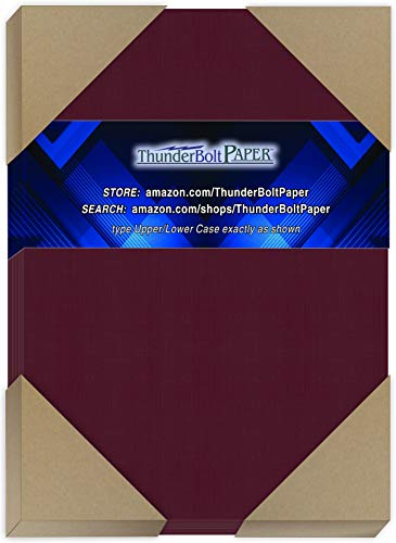 "150 Dark Burgundy Linen 80# Cover Paper Sheets - 5"" X 7"" (5X7 Inches) Photo