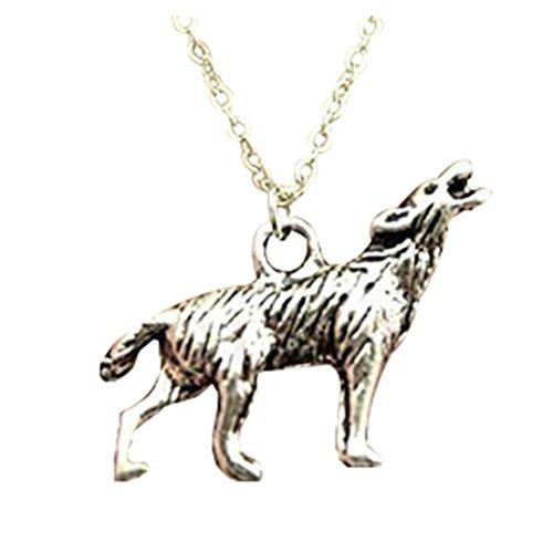 Collar con colgante de lobo de doble cara de oro antiguo, bronce antiguo, color plata envejecida de...