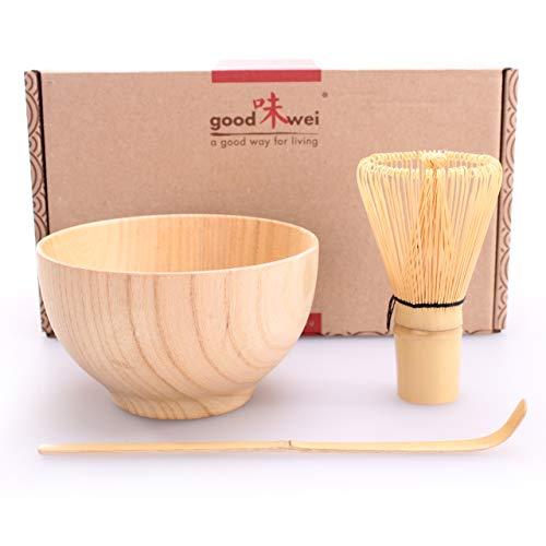 Matcha Set Boku - Tazza per tè Matcha in legno con frusta di bambù e cucchiaio (Shizen (natura))