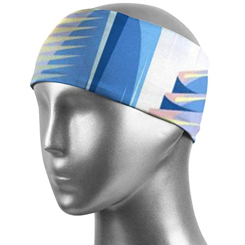 Verctor Sports Sweatband City Skyscrapers Background in Blue Colors Cotton Headbands, Stretch Elastic Headbands