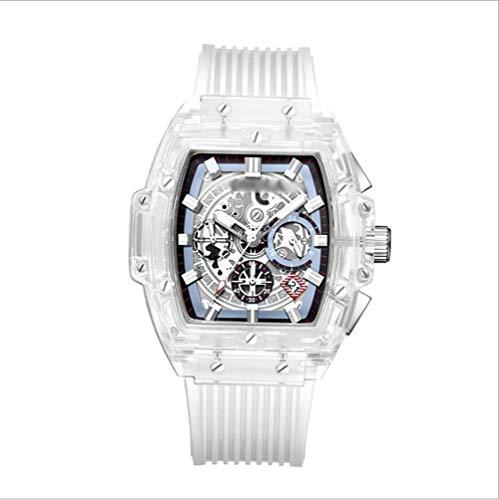 LIANGJIAN Reloj Luminoso Multifuncional, Concha Transparente de Alta Gama para Hombre, cómodo Reloj de Correa de PU, Esencial para Hombres, marrón Blanco y Negro,Blanco